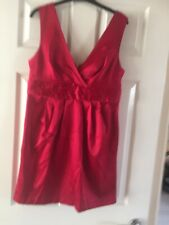 Ladies V Neck Red Dress From New Look Size 14