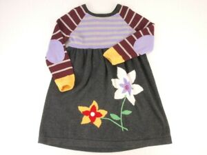 Hanna Andersson Sweater Dress Size 100 US 4 Long Sleeve Flowers Stripes Gray