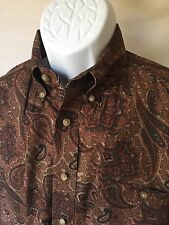 George Strait Wrangler Men's Brown/Red Paisley Long Sleeve Button Front Shirt