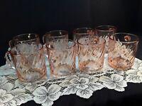 Vintage *Arcoroc France Roseline* Pink Swirl *Glass Coffee Mugs Cups *SET OF 8*