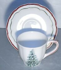 NEW US Tea Cup & Saucer Filets Noel Pattern  From GIEN