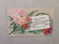 Antique Victorian Business Trade Card Portland ME Maine J Brennan Boots Shoes