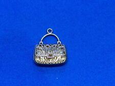 14K Yellow & White Gold Open Work Purse or Handbag Charm