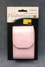 SMALL LIGHT PINK LEATHER (?) DIGITAL CAMERA CASE WITH BELT CLIP - FREE USA SHIP