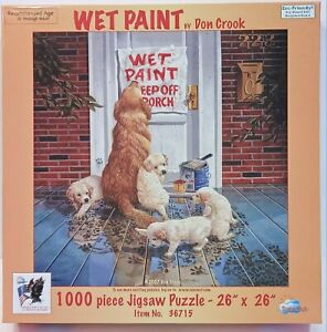 """Suns Out - Wet Paint by Don Crook - 1000 Piece Jigsaw Puzzle Puppies 26"""" x 26"""""""