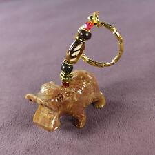 Hippopotamus Totem Soapstone Key Chain Charm Amulet Buffalo Bone Gold Wild Life
