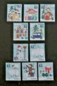 JAPAN USED 2014 WINTER GREETINGS 10 VALUE VF COMPLETE SET SC# 3774 a - j