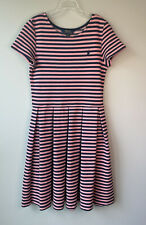 Girls Polo Ralph Lauren Size XL Striped Fit and Flare Dress Short Sleeve Pink