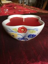 Pretty 4 scallop petal candle, floral design, red wax, birthday gift