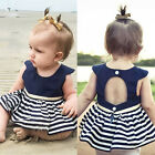 Newborn Baby Girls Party Princess Pageant Tutu Dress Kid Toddler Navy Blue Dress