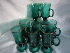 NEVER USED VINTAGE SET 0F EIGHT, LIBBEY GLASS CLEAR JUNIPER GREEN IRISH COFFEE M