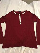Nautica Henley Sweater Sz XL Burgundy Ribbed Knit Women's