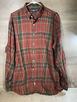 Ralph Lauren Button Up Big Shirt Men's Large Long Sleeve Red Plaid 100% Cotton