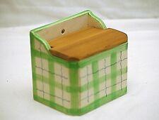 Old Vintage Green Gingham Salt Box w Wooden Lid Wall or Counter Ceramic Japan