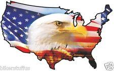 USA EAGLE HEAD STICKER UNITED STATES MAP FLAG BUMPER STICKER