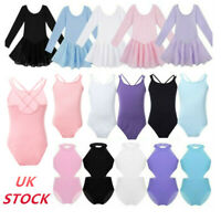 UK Girls Ballet Gymnastics Leotards Kids Stage Performance Tutu Skirts Dancewear