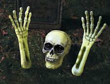 Skeleton Skull GID Glove In Dark Grave Ground Breaker Halloween Lawn Decoration