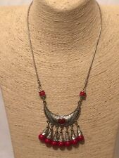 Womens Ladies STATEMENT Long Silver Red Beaded Bib Collar Chain Tassel Necklace
