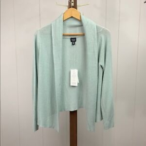Eileen Fisher NWT Women's Large Petite Light Teal Cotton Silk Cord Sweater
