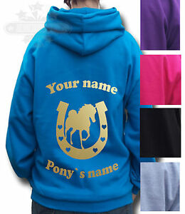 PERSONALISED HORSE RIDING HOODIE, Equestrian GIFT Children's Adult's PONY&SHOE