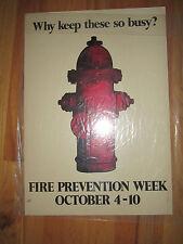 "VINTAGE FIRE PREVENTION WEEK POSTER - 14"" X 20"" - TUB RRR"