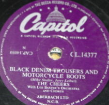 THE CHEERS ~ BLACK DENIM TROUSERS MOTORCYCLE BOOTS ~ UK CAPITOL 78 RPM RECORD