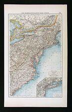 1896 Andrees Map  United States - New England York Long Island Virginia Carolina