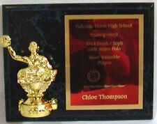 "Water Polo Plaque with water polo figure - 7"" x 9"" - Free Engraving"
