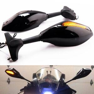 Motorcycle Rearview Mirrors w/ Turn Signal Smoke Lens for Racing Bike Sport Bike