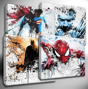 Marvel Avengers / DC Characters paint splatter CANVAS Art Picture Prints