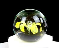"MURANO ITALY ART GLASS YELLOW FLOWER AND CONTROLLED BUBBLE 2 3/8"" PAPERWEIGHT"