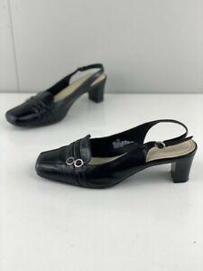 Portland Womens Black Leather Sling Back Block Heels Square Toe Comfort Size 7
