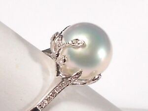 10mm South Sea white pearl ring, diamonds, solid 14k white gold. SPECIAL OFFER!!