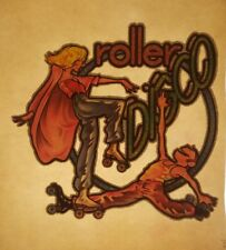 Vintage Iron On T-Shirt Transfer: ROLLER DISCO Glitter Dancing Roller Skaters