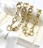 "** Tiffany & Co 18k Yellow Gold Interlocking Circle Link Necklace 46.6 Grams 18"""