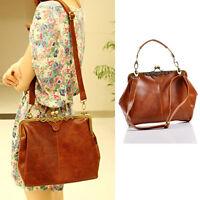Damen Vintage Schultertasche Messengertasche Handtasche Umhängtasche Shopper