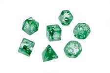 Dice Nebula Translucent Green Clear Set of 7 Dice