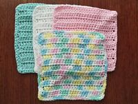 Lot of 4 New Pastel Handmade-Crocheted 100% Cotton Dish/Wash Cloths Gift pink