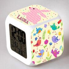 Reveil cube led lumière nuit alarm clock oiseau enfant personnalisé prénom réf09