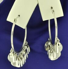 18k  solid white gold  hoop earring earrings with dangling charms 4.10 grams