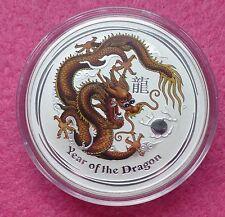 2012 AUSTRALIA LUNAR YEAR OF THE DRAGON - BROWN 1oz SILVER $1 BU COIN