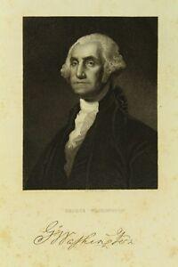 ! Antique Steel Engraving Portrait of GEORGE WASHINGTON, after Gilbert Stuart