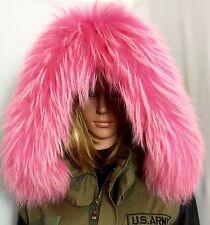 XXL Echt Fell Streifen Pink Rosa Kapuze Kragen pelz Kapuzenstreifen FinnRaccoon