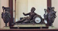 Garniture de cheminée Napoléon III en régule (?) et onyx