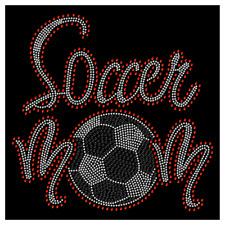 Soccer Mom Ball Team Sport Hotfix Iron On Rhinestone Shirt Transfer