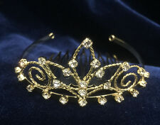 """Crystal Clear Rhinestones Mini Tiara w/Gold Plated.1.5"""" Height.Pick Your Color !"""