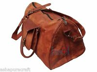Mens genuine Leather large Triangle duffle travel gym weekend overnight bag new
