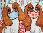 Cavalier King Charles Spaniel Masks Collectible ACEO PRINT Dog Art Card 2.5X3.5