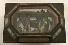 Antique French Dresser Jewelry Box Mirrored Glass Paper Litho Print Decorated