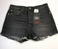 Levi Strauss 501 Womens High Rise Shorts, Size 28, Black, Cotton Blend, BNWT
